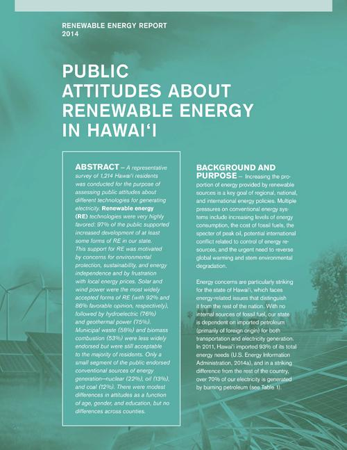 Public Attitudes about Renewable Energy in Hawai'i (2014)