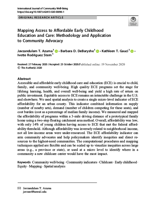 Mapping Access to Affordable Early Childhood Education and Care